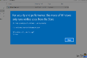 برطرف کردن خطای for security and performance this mode of windows only runs verified apps from the store