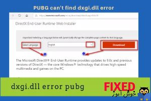 رفع ارور PUBG cannot find dxgi.dll