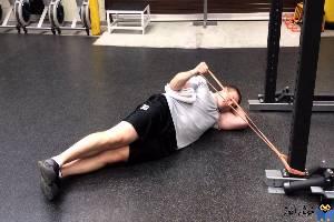 حرکات تمرینی با کش-حرکت Side band Lying External Rotation